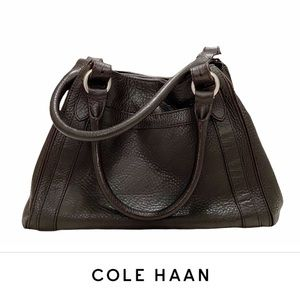 Cole Haan Brown Large Triangle-Shaped Tote Leather Double Handles